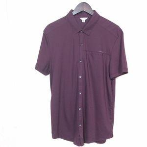 Calvin Klein Mens Size L Purple Short Sleeve Shirt
